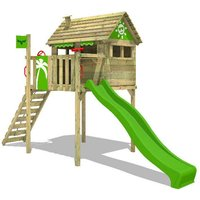Wooden climbing frame FunFactory with apple green slide, Playhouse on stilts for kids with climbing ladder and play-accessories - Fatmoose