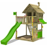 MEGA-SALE Wooden climbing frame GroovyGarden with apple green slide, Playhouse on stilts for kids with sandpit, climbing ladder and play-accessories