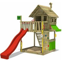 MEGA-SALE Wooden climbing frame GroovyGarden with red slide, Playhouse on stilts for kids with sandpit, climbing ladder and play-accessories - Fatmoose