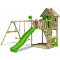 Wooden climbing frame HappyHome with swing set and apple green slide, Playhouse on stilts for kids with sandpit, climbing ladder and play-accessories