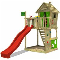 MEGA-SALE Wooden climbing frame HappyHome with red slide, Playhouse on stilts for kids with sandpit, climbing ladder and play-accessories - Fatmoose