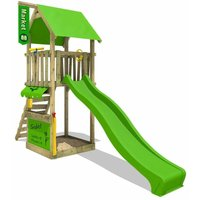 Wooden climbing frame MagicMarket with apple green slide, Garden playhouse with sandpit, climbing ladder and play-accessories - Fatmoose