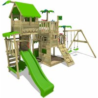 FATMOOSE Wooden climbing frame PacificPearl with swing set and apple green slide, Playhouse on stilts for kids with sandpit, climbing ladder and