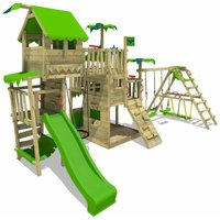 Wooden climbing frame PacificPearl with swing set SurfSwing and apple green slide, Playhouse on stilts for kids with sandpit, climbing ladder and