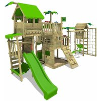 Wooden climbing frame PacificPearl with swing set TowerSwing and apple green slide, Playhouse on stilts for kids with sandpit, climbing ladder and