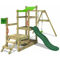 Wooden climbing frame RabbitRally with swing set and green slide, Garden playhouse with sandpit, climbing ladder and play-accessories - Fatmoose