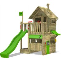 Wooden climbing frame RebelRacer with apple green slide, Playhouse on stilts for kids with sandpit, climbing ladder and play-accessories - Fatmoose