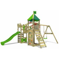 FATMOOSE Wooden climbing frame RiverRun with swing set and apple green slide, Knights playhouse with sandpit, climbing ladder and play-accessories
