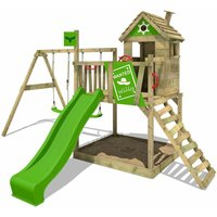 FATMOOSE Wooden climbing frame RockyRanch with swing set and apple green slide, Playhouse on stilts for kids with sandpit, climbing ladder and