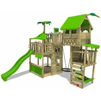 FATMOOSE Climbing frame TropicTemple Tall XXL with slide and nest swing