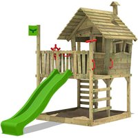 Wooden climbing frame WackyWorld with apple green slide, Playhouse on stilts for kids with sandpit, climbing ladder and play-accessories - Fatmoose