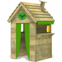 Wodden Playhouse BeetleBox Bling XXL with high counter and chimney, Garden Playhouse for kids, Clubhouse for children, Wendy House - Fatmoose