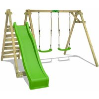 FATMOOSE Wooden swing set JollyJay with apple green slide Childrens swing