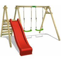 FATMOOSE Wooden swing set JollyJack with red slide Childrens swing