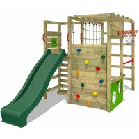 Wooden climbing frame ActionArena with green slide, Garden playhouse with climbing wall and play-accessories - Fatmoose