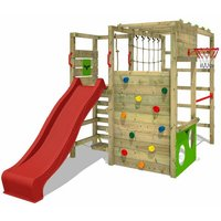 Wooden climbing frame ActionArena with red slide, Garden playhouse with climbing wall and play-accessories - Fatmoose
