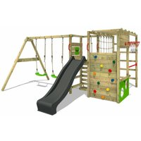 Wooden climbing frame ActionArena with swing set and anthracite slide, Garden playhouse with climbing wall and play-accessories - Fatmoose