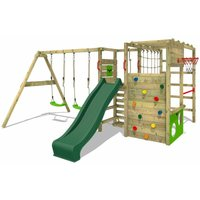 Wooden climbing frame ActionArena with swing set and green slide, Garden playhouse with climbing wall and play-accessories - Fatmoose
