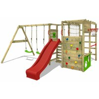 FATMOOSE Wooden climbing frame ActionArena with swing set and red slide, Garden playhouse with climbing wall and play-accessories