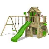 MEGA-SALE Wooden climbing frame CrazyCat with swing set and apple green slide, Playhouse on stilts for kids with climbing ladder and play-accessories