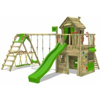 MEGA-SALE Wooden climbing frame CrazyCat with swing set SurfSwing and apple green slide, Playhouse on stilts for kids with climbing ladder and