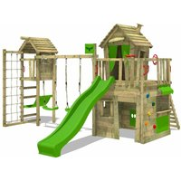 FATMOOSE Wooden climbing frame CrazyCat with swing set TowerSwing and apple green slide, Playhouse on stilts for kids with climbing ladder and