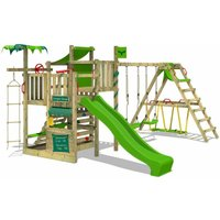 FATMOOSE Wooden climbing frame CrazyCoconut with swing set SurfSwing and apple green slide, Garden playhouse with sandpit, climbing wall and