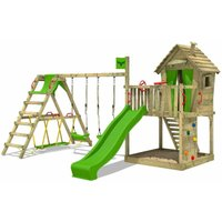 FATMOOSE Wooden climbing frame DonkeyDome with swing set SurfSwing and apple green slide, Playhouse on stilts for kids with sandpit, climbing ladder
