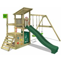 Wooden climbing frame FruityForest with swing set and green slide, Garden playhouse with sandpit, climbing ladder and play-accessories - Fatmoose
