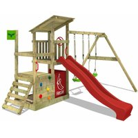 Wooden climbing frame FruityForest with swing set and red slide, Garden playhouse with sandpit, climbing ladder and play-accessories - Fatmoose