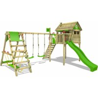 Wooden climbing frame FunFactory with swing set SurfSwing and apple green slide, Playhouse on stilts for kids with climbing ladder and play-accessories