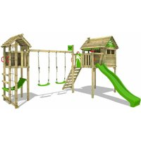 FATMOOSE Wooden climbing frame FunFactory with swing set TowerSwing and apple green slide, Playhouse on stilts for kids with climbing ladder and