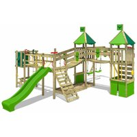 FATMOOSE Wooden climbing frame FunnyFortress with swing set and apple green slide, Knights playhouse with sandpit, climbing ladder and play-accessories