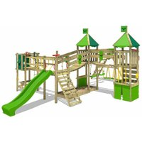 Wooden climbing frame FunnyFortress with swing set SurfSwing and apple green slide, Knights playhouse with sandpit, climbing ladder and