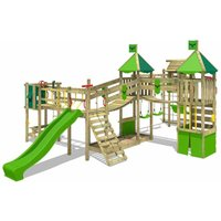 FATMOOSE Wooden climbing frame FunnyFortress with swing set TowerSwing and apple green slide, Knights playhouse with sandpit, climbing ladder and