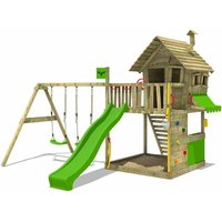 Wooden climbing frame GroovyGarden with swing set and apple green slide, Playhouse on stilts for kids with sandpit, climbing ladder and