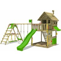 Wooden climbing frame GroovyGarden with swing set SurfSwing and apple green slide, Playhouse on stilts for kids with sandpit, climbing ladder and