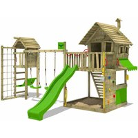 Wooden climbing frame GroovyGarden with swing set TowerSwing and apple green slide, Playhouse on stilts for kids with sandpit, climbing ladder and