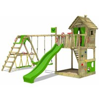 FATMOOSE MEGA-SALE Wooden climbing frame HappyHome with swing set SurfSwing and apple green slide, Playhouse on stilts for kids with sandpit,