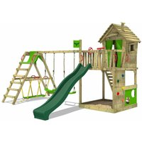 MEGA-SALE Wooden climbing frame HappyHome with swing set SurfSwing and green slide, Playhouse on stilts for kids with sandpit, climbing ladder and