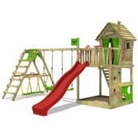 MEGA-SALE Wooden climbing frame HappyHome with swing set SurfSwing and red slide, Playhouse on stilts for kids with sandpit, climbing ladder and