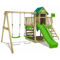 Wooden climbing frame JazzyJungle with swing set and apple green slide, Playhouse on stilts for kids with sandpit, climbing ladder and play-accessories