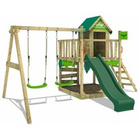 Wooden climbing frame JazzyJungle with swing set and green slide, Playhouse on stilts for kids with sandpit, climbing ladder and play-accessories