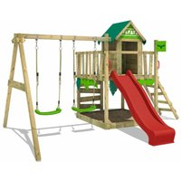 Wooden climbing frame JazzyJungle with swing set and red slide, Playhouse on stilts for kids with sandpit, climbing ladder and play-accessories