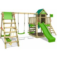FATMOOSE Wooden climbing frame JazzyJungle with swing set SurfSwing and apple green slide, Playhouse on stilts for kids with sandpit, climbing ladder