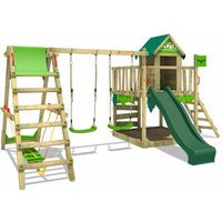 FATMOOSE Wooden climbing frame JazzyJungle with swing set SurfSwing and green slide, Playhouse on stilts for kids with sandpit, climbing ladder and