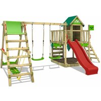 FATMOOSE Wooden climbing frame JazzyJungle with swing set SurfSwing and red slide, Playhouse on stilts for kids with sandpit, climbing ladder and