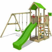 Wooden climbing frame MagicMango with swing set and apple green slide, Garden playhouse with sandpit, climbing ladder and play-accessories - Fatmoose