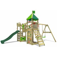 Wooden climbing frame RiverRun with swing set and green slide, Knights playhouse with sandpit, climbing ladder and play-accessories - Fatmoose