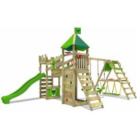 FATMOOSE Wooden climbing frame RiverRun with swing set SurfSwing and apple green slide, Knights playhouse with sandpit, climbing ladder and